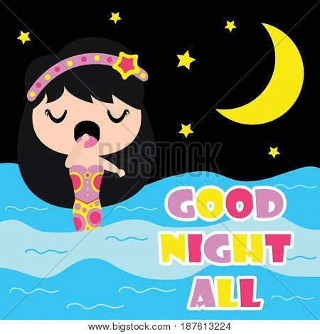 Cute mermaid is sleepy on night background  vector cartoon, Kid nursery wall, wallpaper, and greeting card, T-shirt design for kids