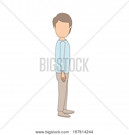 light color caricature faceless full body youn guy with hairstyle looking to side vector illustration