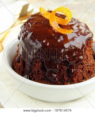 Super chocolate cake with liquid glaze sauce