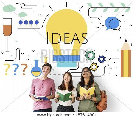 Students with Illustration of creativity ideas light bulb