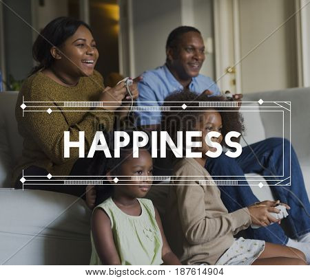 Family Enjoy Life Together Happiness Word Graphic