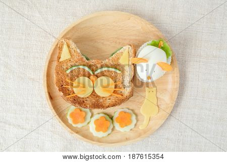 Cat and mouse lunch plate fun food art for kids