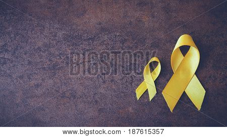 yellow gold ribbons Sarcoma Awareness Bone cancer Liver cancer Bladder Cancer childhood cancer awareness pamoramic banner