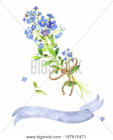 Watercolor set bouquet and ribbon. Blue forget-me-nots with green leaves on white background. Can be used as wedding invitations, print, your banner or Postcards for Valentine's Day. Gray tape.