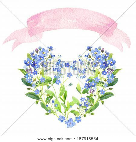 Watercolor heart-shaped and ribbon set. Blue forget-me-nots with green leaves on white background. Can be used as wedding invitations, print, your banner or Postcards for Valentine's Day. Pink tape.
