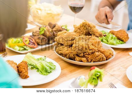 Chicken on dinning table ready to eat