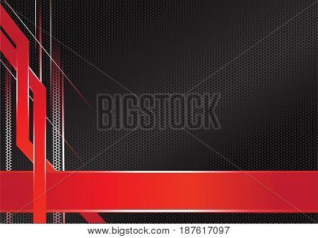 abstract sharp metallic frame red black, abstract modern metallic red black frame, vector illustration.