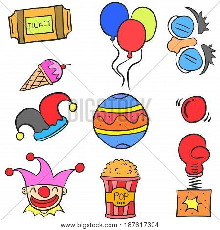 Doodle of object circus colorful vector art