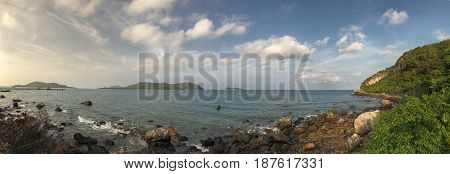 Panorama of the tropical sandy beach blue sky background