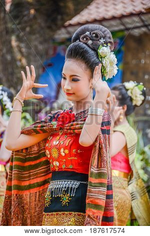 NAKORN PHANOM THAILAND - FEBRUARY 14 2015: Thai northeastern dance in Phutai world event day in Renunakorn of Nakorn Phanom Thailand
