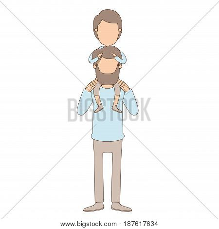 light color caricature faceless father with moustache and boy on his back vector illustration