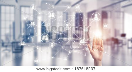Close up of businesswoman hand touching network concept on screen