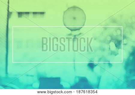 Empty White Frame On Gradient Greenduotone Of Blur Woman Reading Book In Cafe Background, Mock Up Fo