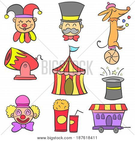 Vector art circus object doodles collection stock