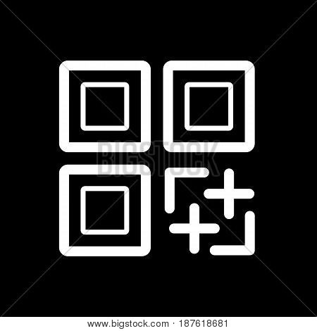 QR code vector icon. Black and white qr code illustration. Outline linear icon. eps 10