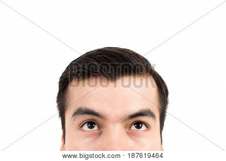 Man upper half face with eyes looking up