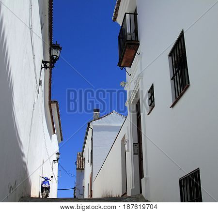 Ronda, Spain. White walls and blue sky.