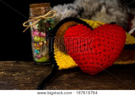 Love hearts on wooden valentines day concept.