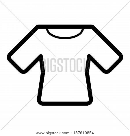 Woman t-shirt vector icon. Black and white shirt illustration. Outline linear clothing icon. eps 10