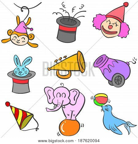 Circus object set of doodles vector illustration