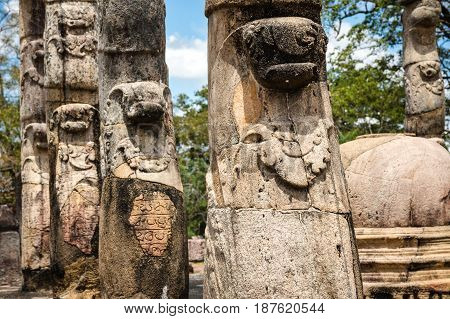 Carved columns part of the audience hall in the Polonnaruwa temples archaeological area - the ancient capital of Ceylon / Sri Lanka.