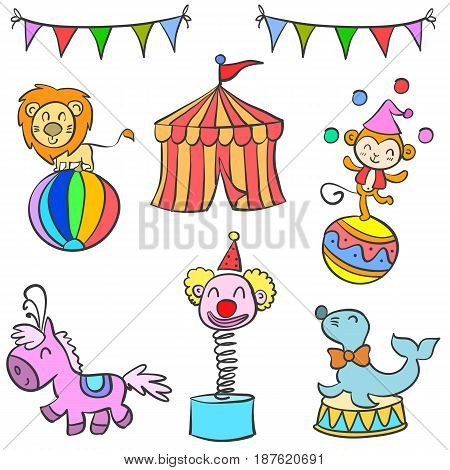 Doodle circus colorful hand draw vector illustration