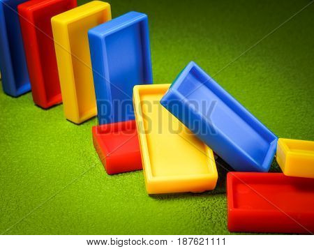 The domino effect of colorful blocks, Concept image