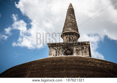 The top or pinnacle of Rankoth Vehera a stupa located in the ancient city of Polonnaruwa Sri Lanka.