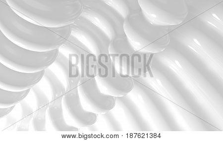 White waves pattern futuristic background. 3d render illustration