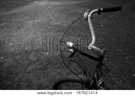 Vintage bicycle handlebars close up background .