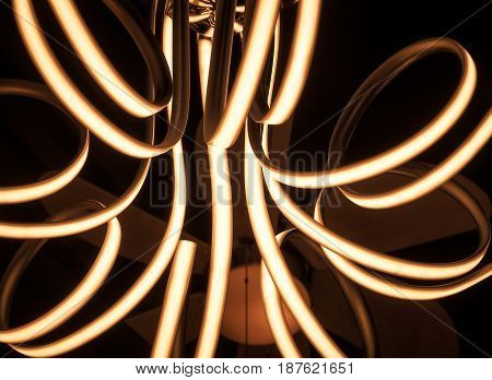 Abstract of Photo Filter Technic, Neon Yellow Light in The Dark.