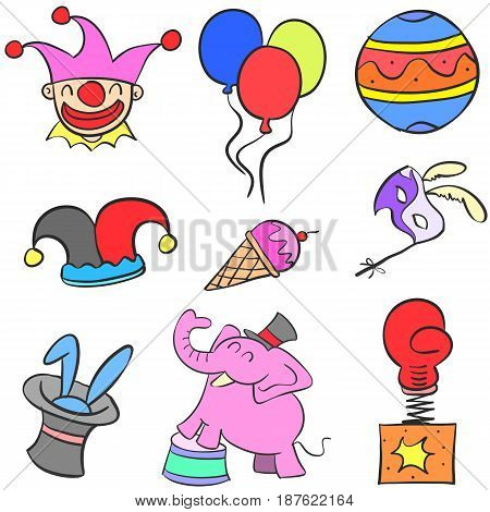 Various object circus set doodles vector illustration