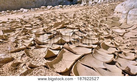 Dried dirt in canyon Judaean Desert. Israel