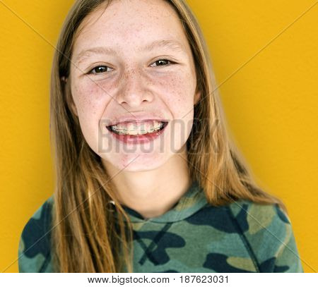 Young caucasian girl is smiling