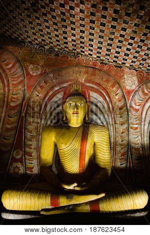 One of the many sculptures of buddha inside Dambulla cave temple. Also known as the golden temple of dambulla Sri Lanka.