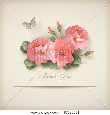Floral 'Thank you' card with roses and paper banner. Perfect for wedding, greeting or invitation design