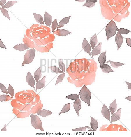 Hand drawn watercolor floral seamless pattern. Vintage pink flowers