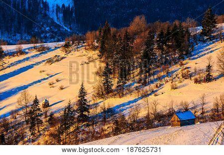 Colorful Sunrise In Carpathian Rural Area.