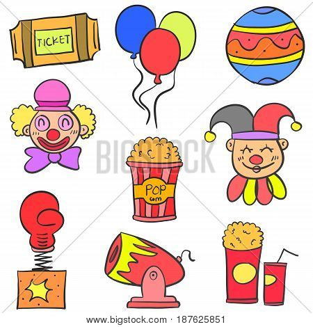 Hand draw colorful circus doodle set vector art