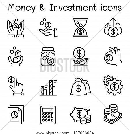 Money & Investment icon set in thin line style