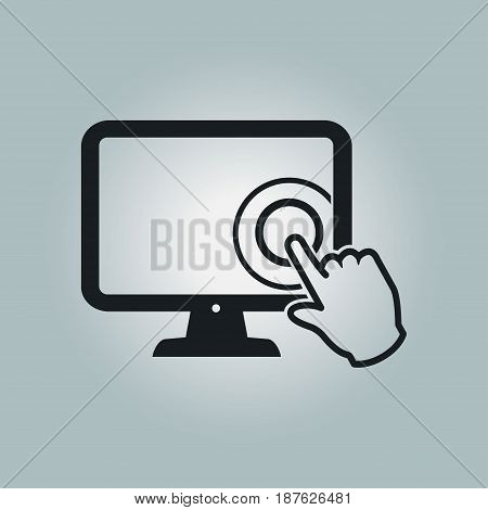 Touch screen monitor icon. Hand pointer sign.