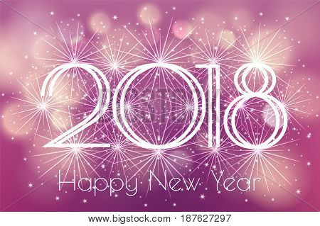Happy New Year 2018 Card with glowing fireworks fire on blurred purple violet background. Poster, greeting card, banner or invitation. Vector illustration EPS 10