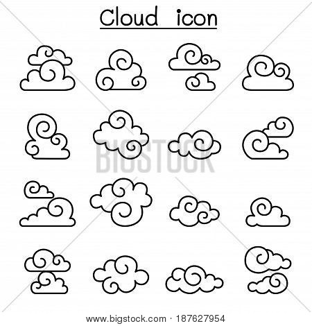 Abstract Cloud Chinese Cloud Curl cloud Decoration cloud cloud icon set