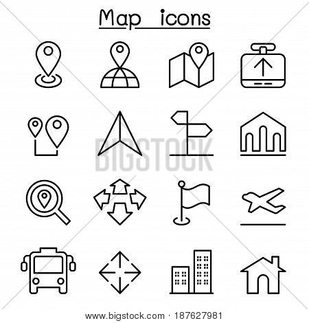 Map icon set  in thin line style