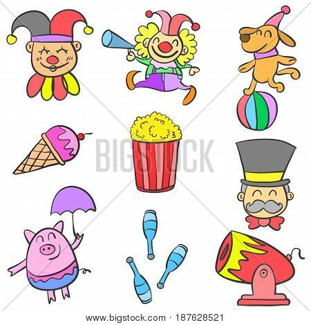 Clown and element circus doodles vector illustration