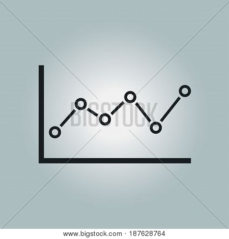 Graph chart  icon. Diagram symbol.  Flat design style.