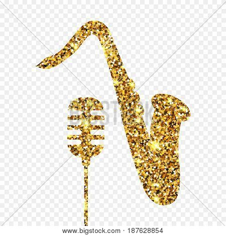 Gold glitter vector Old microphone and saxophone. Golden sparcle retro microphone and saxophone on transparent background. Amber particles gold confetti element.