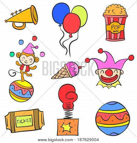 Doodle of circus colorful element vector illustration