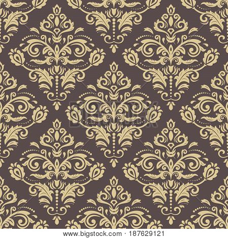 Damask classic golden pattern. Seamless abstract background with repeating elements. Orient background