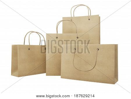 Mockup Set Of Cardboard Packages For Purchases Of Different Sizes. 3D Rendering.